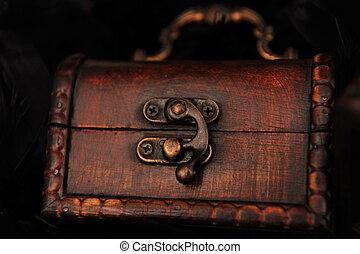 closed small treasure chest