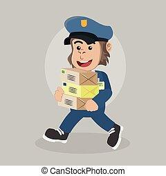 gorilla postman walking carrying packet