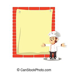 monkey chef with giant paper