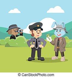 detective dog investigating corrupt police monkey