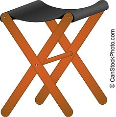 Folding wooden chair in retro design on white background