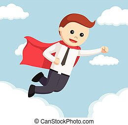 office man flying in the air