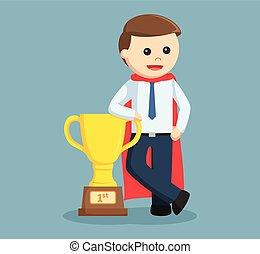 office man standing beside trophy