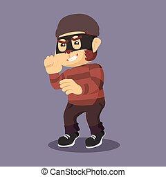 thief monkey carrying money sack