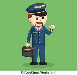 pilot with briefcase illustration design