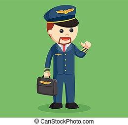 pilot with briefcase illustration design