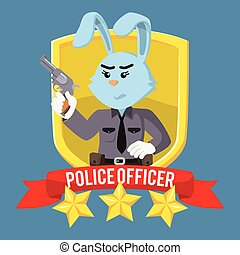 woman police rabbit officer in shield emblem