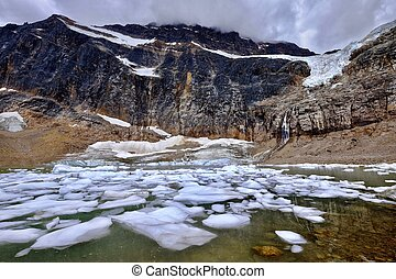 Glacier lake with icebergs. - Angel Glacier at Mount Edith...