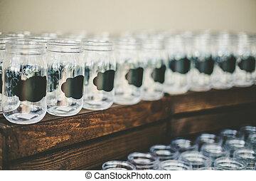 Rustic wedding glasses - Rustic empty wedding glasses with a...