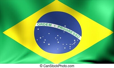 Brazil Flag. Background Seamless Looping Animation. -...