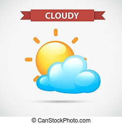Weather icon with cloudy and sun