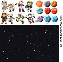 Space background and spaceman set illustration