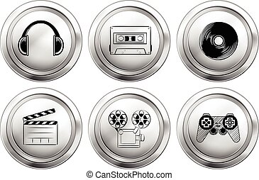 Icon design for entertainment equipments illustration