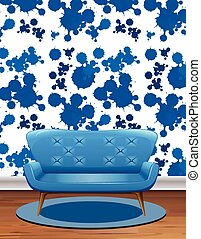 Blue sofa in room with blue splash wallpaper