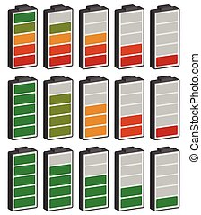 Color coded battery level indicator. Battery running low / rechargeable battery