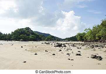 Landscape and seascape of beach in the andaman ocean while...