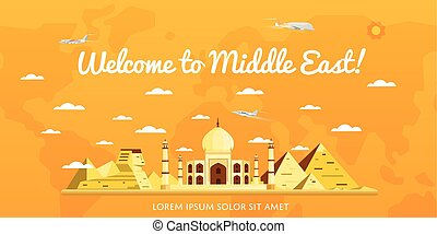Welcome to Middle East poster with attractions
