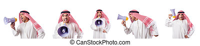 Arab businessman with bullhorn isolated on white