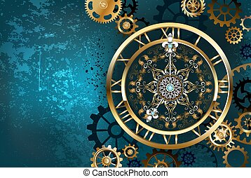 Golden clock on turquoise background - Large antique gold...