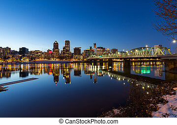 Portland Downtown Skyline Winter Night Scene - Portland...