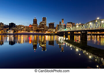 Portland Downtown Skyline Winter Blue Hour - Portland Oregon...