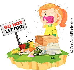 Little girl and litter pile illustration