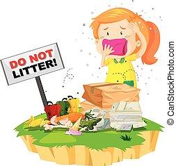 Little girl and litter pile illustration