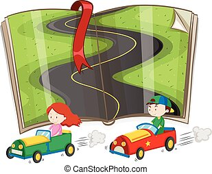 Book with road and racing cars illustration