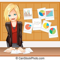 Businesswoman and different types of charts on the wall...