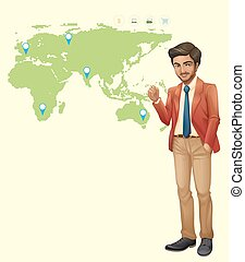 Businessman and locations on worldmap illustration