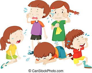 Clip Art of Crying Kids - kiddie style drawing of kids crying ...