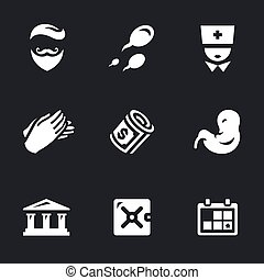 Vector Icons Set of Reproduction Bank. - Man, sperm, doctor,...