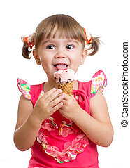 Child girl with ice cream in studio isolated