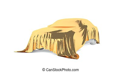 Car covered with a white cloth. 3D rendering - Presentation...