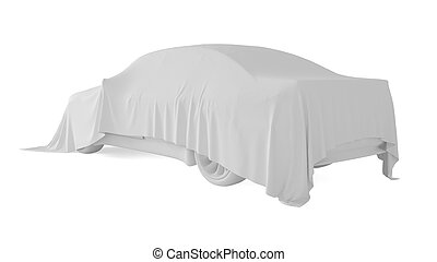 Car covered with a white cloth. 3D rendering