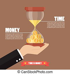 Time is money infographic. Money in sandglass