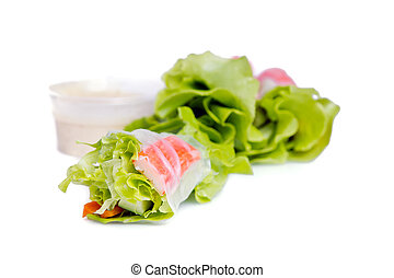 Vietnamese spring roll or Thai Salad roll with vegetable and...