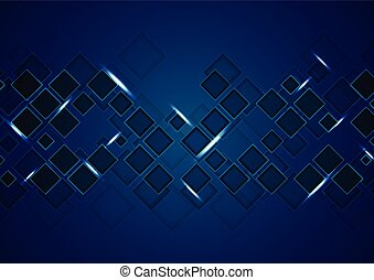 Dark blue tech abstract background with squares