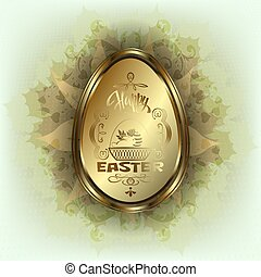 Easter egg with rabbit in basket