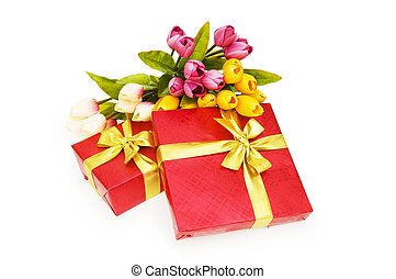 Giftbox and flowers isolated on the white background