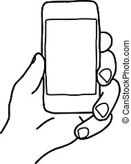 illustration vector doodle hand drawn sketch of human left hand using small smart mobile phone