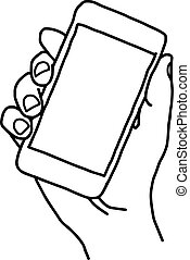 vector doodle hand drawn sketch of human right hand holding smart mobile phone