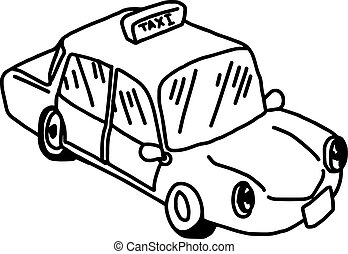 illustation vector hand drawn doodle of taxi icon isolated...