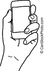 illustration vector doodle hand drawn sketch of human left hand using or holding smart mobile phone