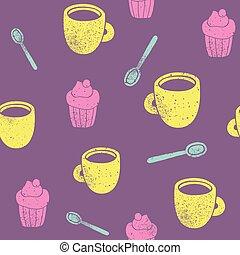 Cute teatime pattern. Cupcake, cups, spoons. - Cute teatime...