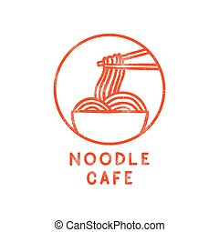 Noodle cafe logotype. Vector hand drawn sign.