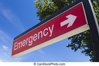 Emergency sign of a hospital - Sign outside the emergency...