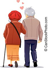 Old Couple in Love Walking Together Vector Illustration -...