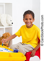 preschool boy in classroom - african american preschool boy...