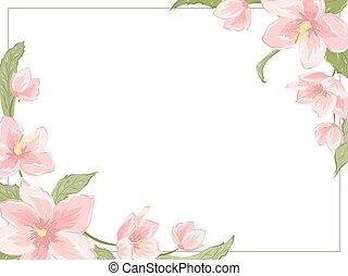 Magnolia sakura hellebore corner frame horizontal - Corner...